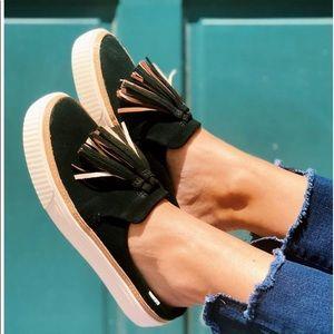 Toms Shoes - TOMS Black Suede Tassel Slip-Ons